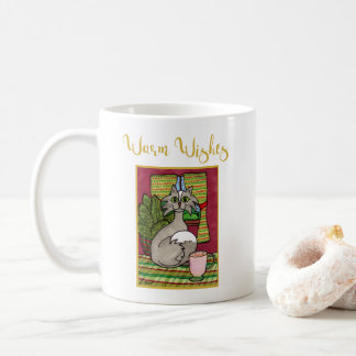 Warm Wishes Cute Gray Cat & Hot Eggnog Holiday Coffee Mug