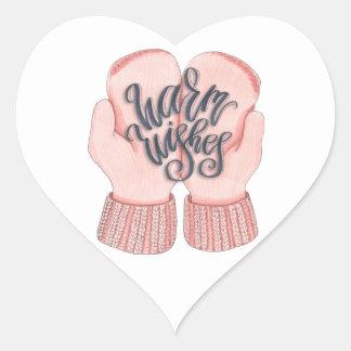 Warm Wishes Heart Sticker