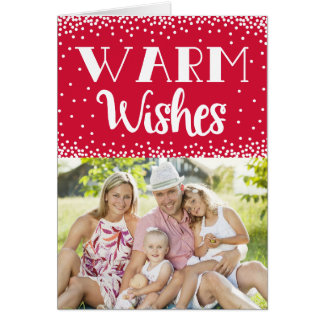 Warm Wishes Holiday Photo Greeting Card / Red