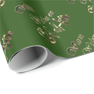 Warm Wishes on Eid al-Fitr Green Gold Typography Wrapping Paper