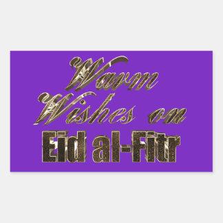 Warm Wishes on Eid al-Fitr Purple Gold Typography Rectangular Sticker