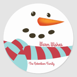 Warm Wishes, Snowman Holiday Classic Round Sticker