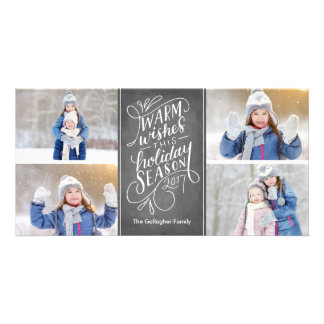 Warm Wishes This Holiday Hand Lettered 4-Photo Card