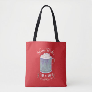Warm Wishes This Season Peppermint Hot Cocoa Tote Bag