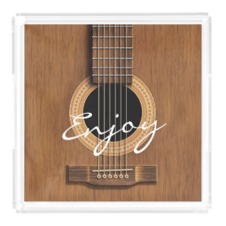 Warm Wood Acoustic Guitar Acrylic Tray