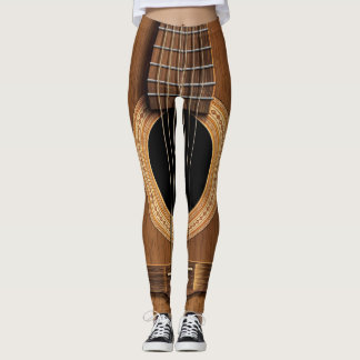 Warm Wood Acoustic Guitar Leggings