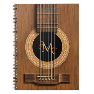 Warm Wood Acoustic Guitar Spiral Notebook
