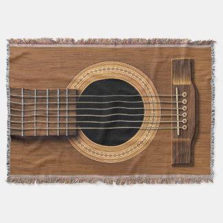Warm Wood Acoustic Guitar Throw Blanket