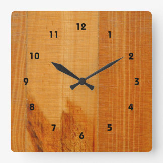 Warm Wooden Boards Square Wall Clock