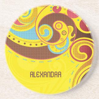 Warm &Yellow Tones Abstract Swirls-Monogram Beverage Coaster