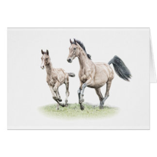 Warmblood Mare & Foal Birthday Card Horse