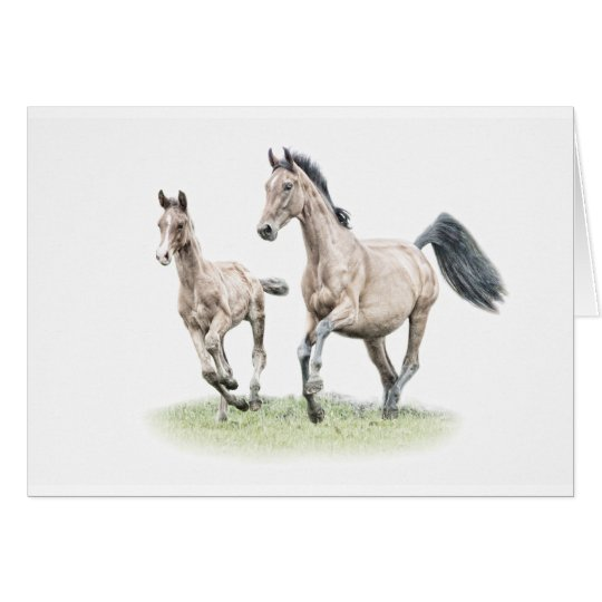 Warmblood Mare & Foal Birthday Card Horse
