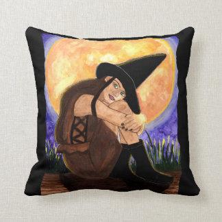 Warmed By The Moon - Witch Art by Carol Ochs Cushion