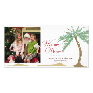 Warmest Holiday Wishes Christmas Beach Palm Tree Customized Photo Card