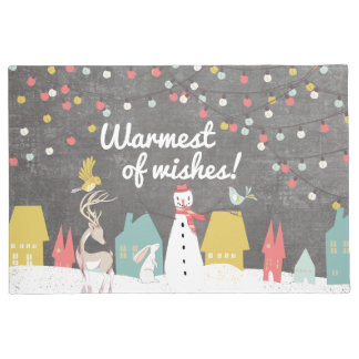 Warmest Holiday Wishes Vintage Style Christmas Doormat