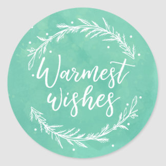 Warmest Wishes Holiday Wreath & Watercolour Classic Round Sticker