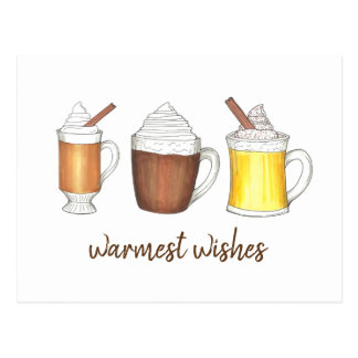 Warmest Wishes Hot Cocoa Buttered Rum Eggnog Postcard