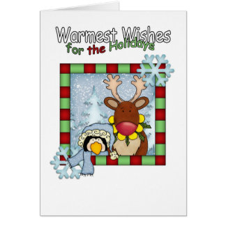 warmest wishes reindeer and penguin winter holiday greeting card