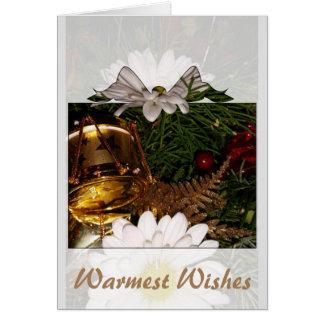 Warmest Wishes winter holiday season greeting card