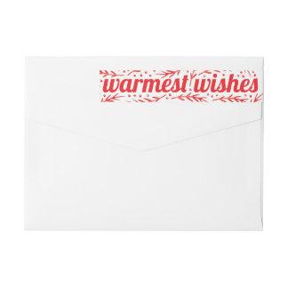 Warmest Wishes Wraparound Label Red Wraparound Return Address Label