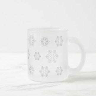 Warming Winter Mug, Fleur-de-lis Snowflakes Frosted Glass Mug