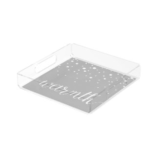 Warmth Script Lettering with Snow Falling Acrylic Tray