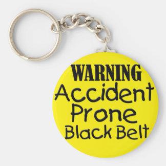 Warning Accident Prone Black Belt Key Ring