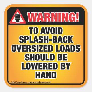 WARNING - Avoid Splash-Back Bathroom Square Sticker