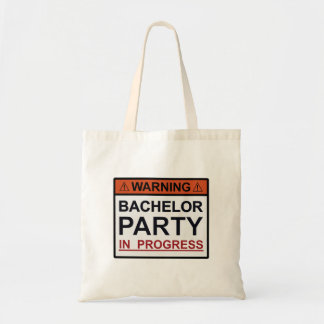 Warning Bachelor Party in Progress Canvas Bags