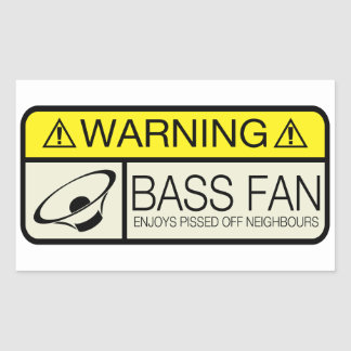 Warning Bass Fan! Rectangular Sticker