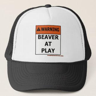 Warning Beaver At Play Trucker Hat