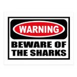 Warning BEWARE OF THE SHARKS Postcard