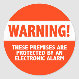 Warning Burglar Alarm Electronic Security Round Sticker