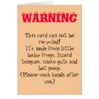 WARNING CARD