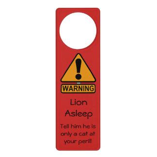 Warning Cat Asleep Personalised Door Hanger