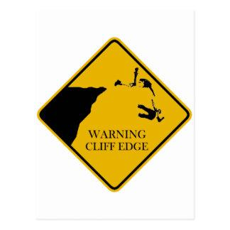 Warning Cliff Edge Postcard