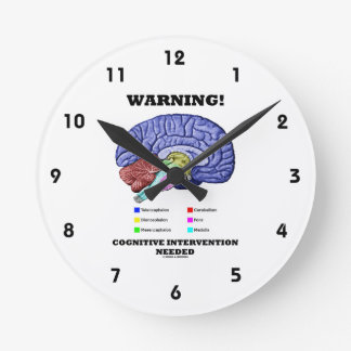 Warning! Cognitive Intervention Needed Round Wall Clocks