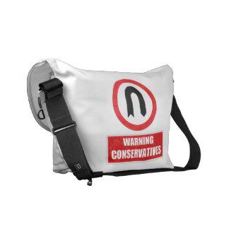 WARNING CONSERVATIVES (U turn) Courier Bag