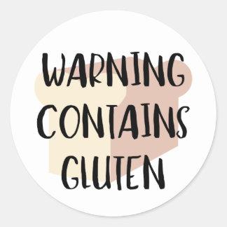 Warning Contains Gluten Celiac Wheat Allergy Alert Round Sticker