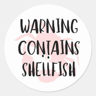 Warning Contains Shellfish Fish Allergen Crab Round Sticker