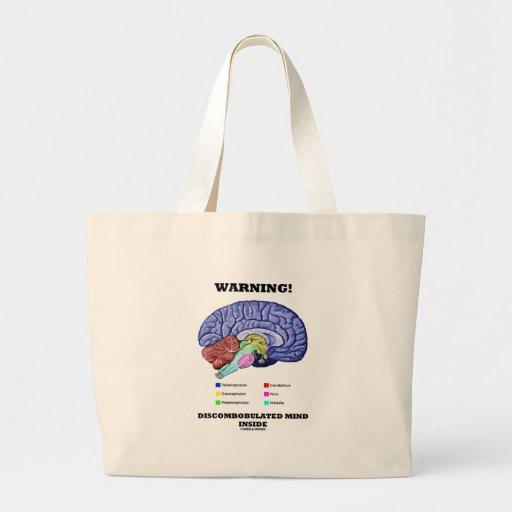 Warning! Discombobulated Mind Inside (Brain Humor) Tote Bag