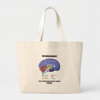Warning! Discombobulated Mind Inside (Brain Humor) Jumbo Tote Bag