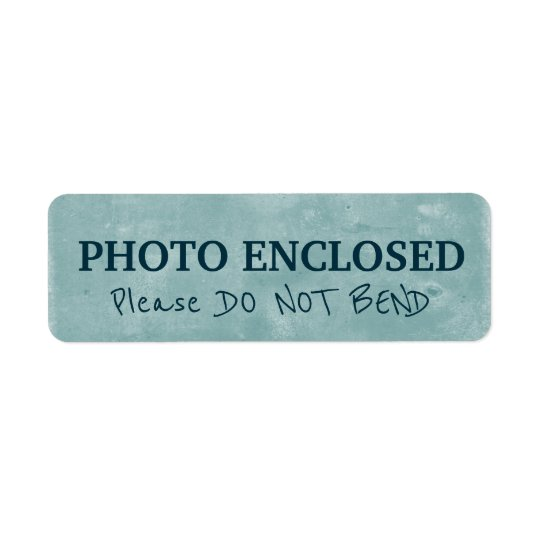 Warning Do Not Bend Painted Chalk Artwork Blue Return Address Label