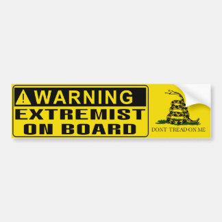 WARNING - Extremist On Board Gadsden Flag Bumper Sticker