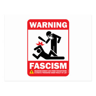 Warning! Facism Postcard