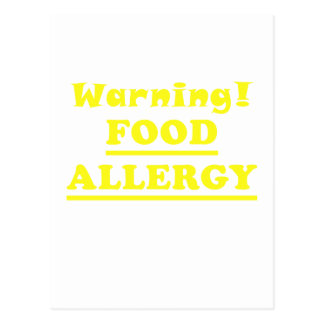 Warning Food Allergy Postcard