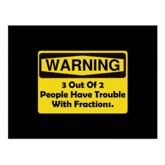 Warning Fraction Postcard