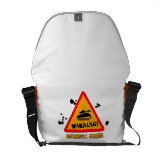 Warning Gaming Messenger Bag Outside Print