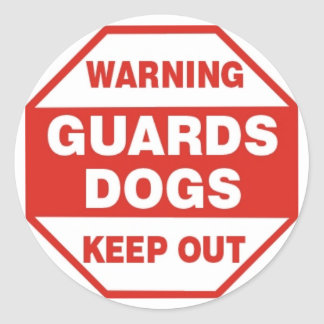 Warning Guard Dog Security Sticker