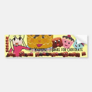 Warning I brake for Chocolate Chibi - Customized Bumper Sticker